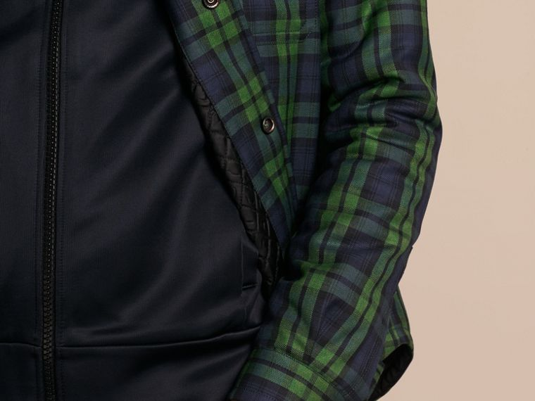 Dark forest green Tartan Wool Wadded Shirt - cell image 4