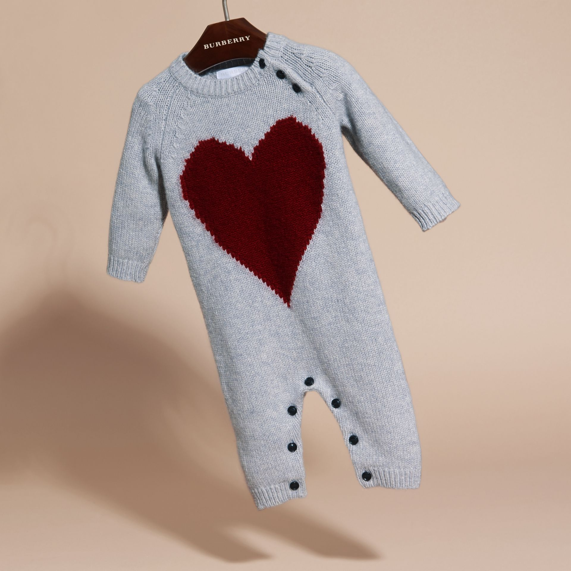 Light grey melange Heart Intarsia Cashmere Jumpsuit Light Grey Melange - gallery image 3