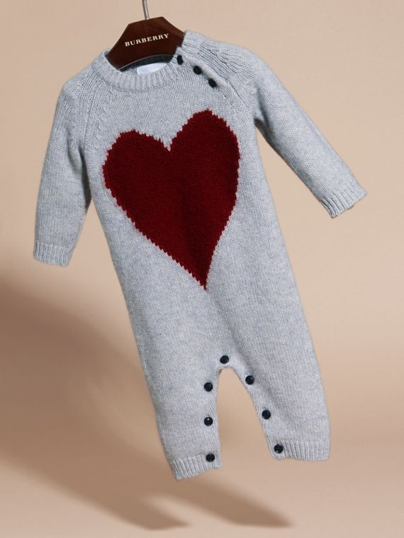 Light grey melange Heart Intarsia Cashmere Jumpsuit Light Grey Melange - cell image 2