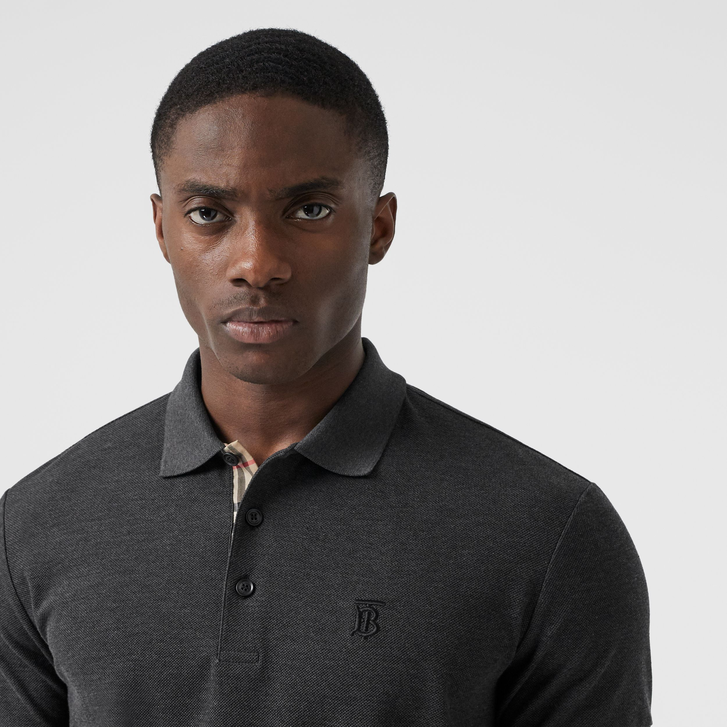 Monogram Motif Cotton Piqué Polo Shirt in Charcoal Melange - Men | Burberry - 2
