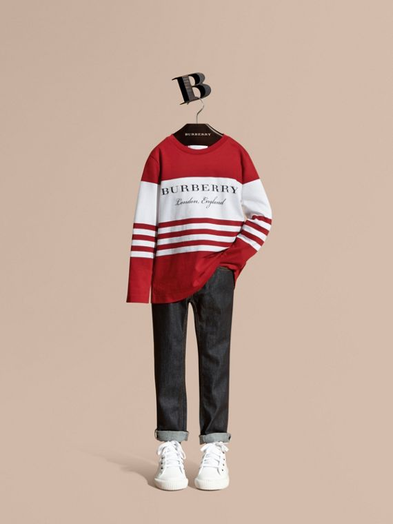 Long-sleeved Striped Cotton T-shirt Parade Red