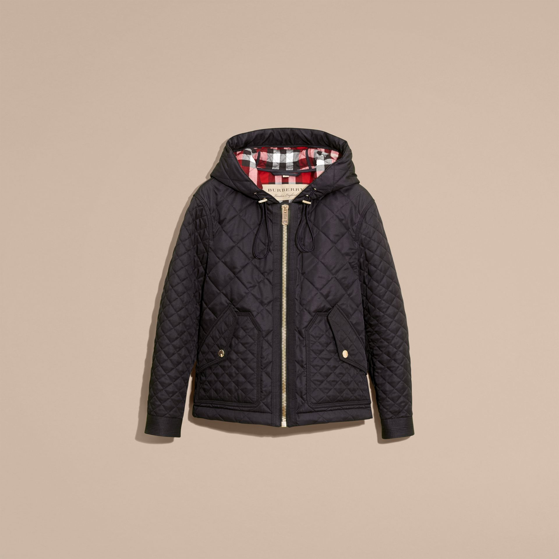 Diamond Quilted Hooded Jacket with Check Lining Navy - gallery image 4
