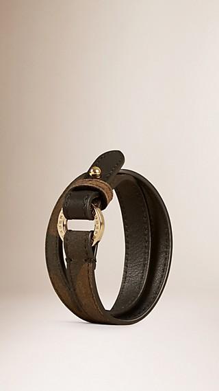 Camouflage Print Suede Wraparound Bracelet