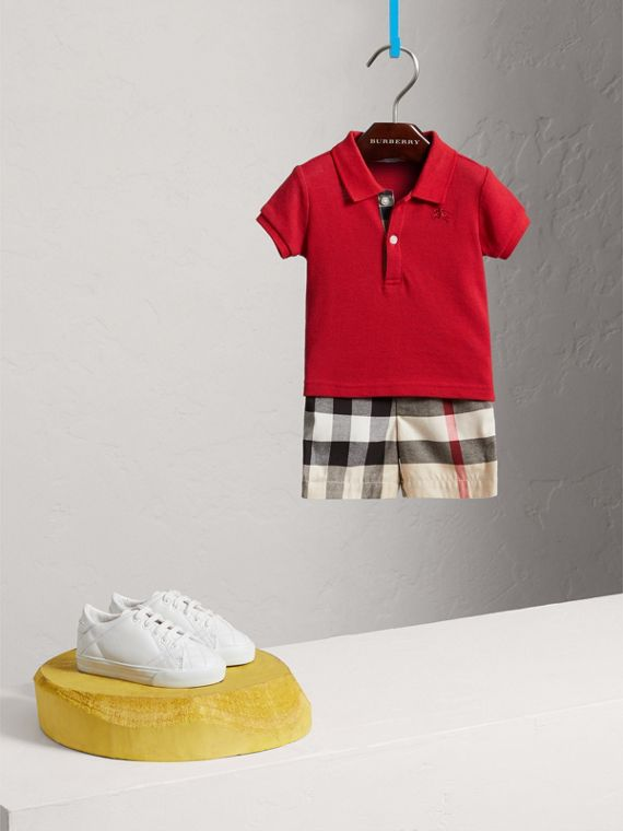 Cotton Piqué Polo Shirt in Military Red | Burberry - cell image 2