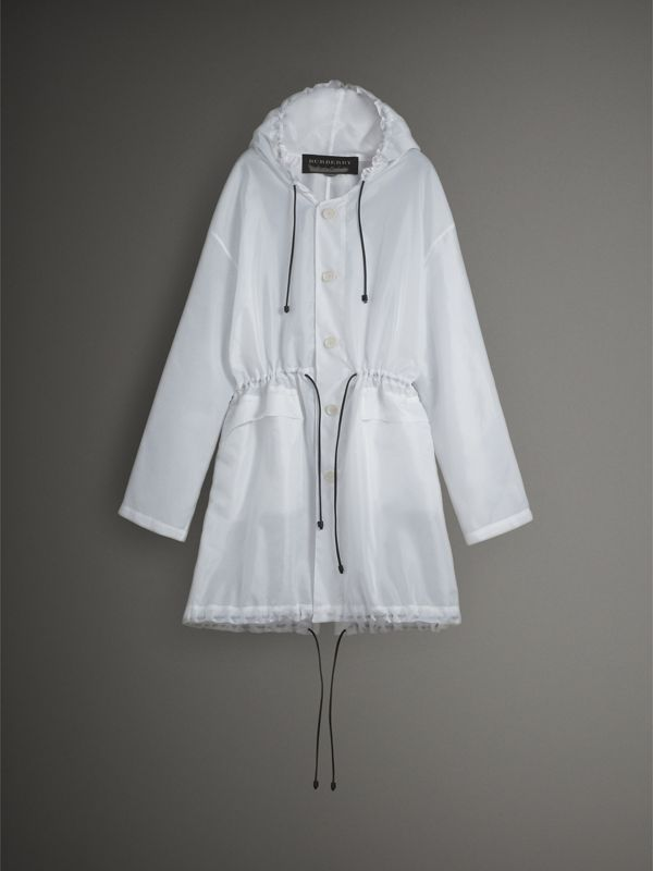 Lambskin Drawcord Textured Lightweight Parka in White - Men | Burberry - cell image 3
