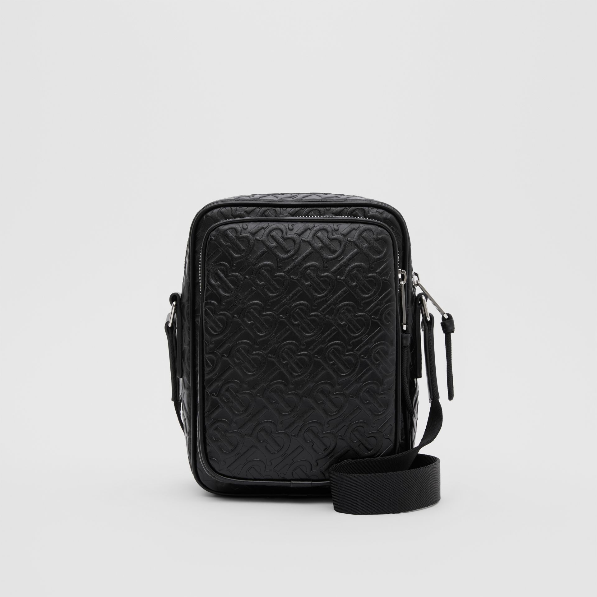 Monogram Leather Crossbody Bag in Black - Men | Burberry Canada - gallery image 0