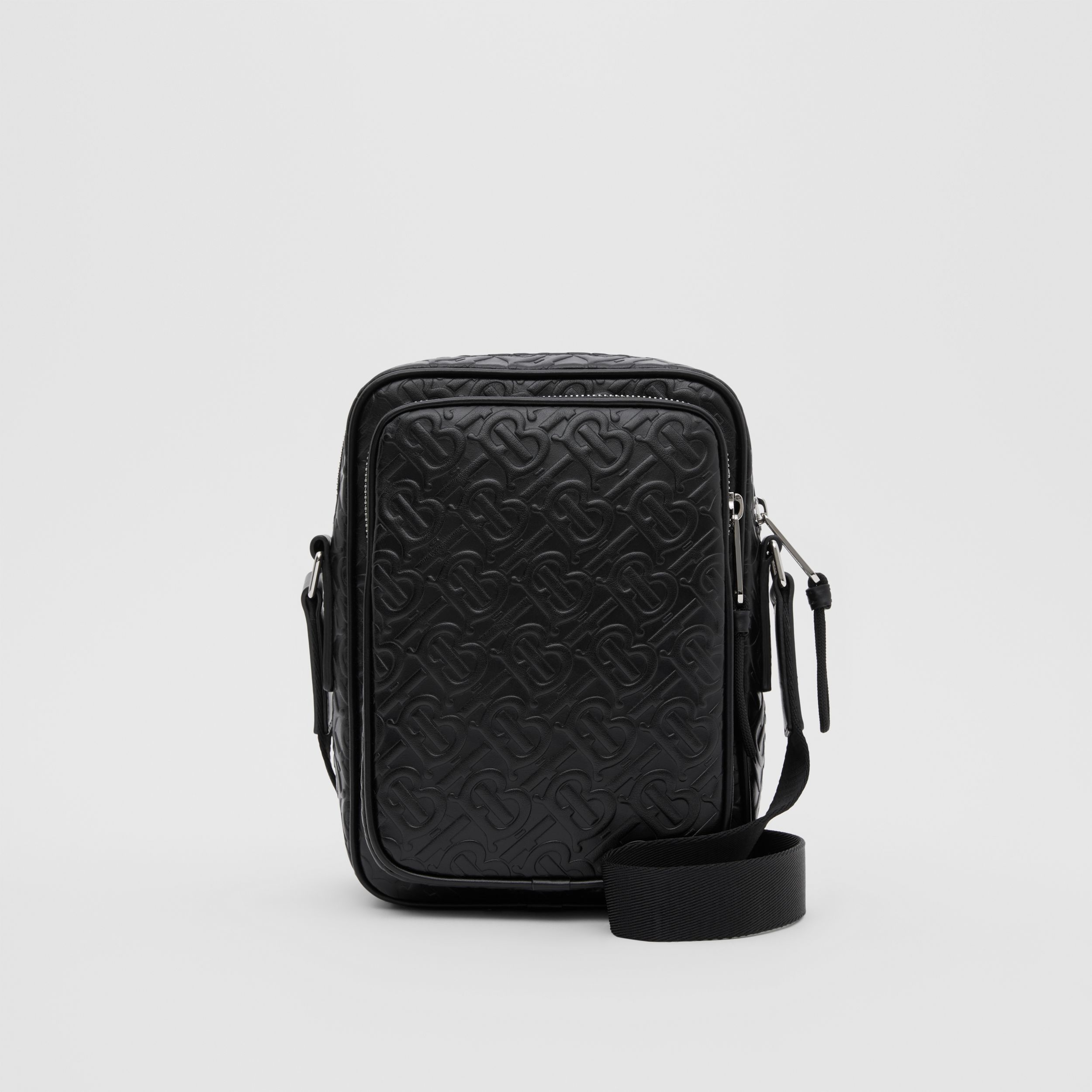 Monogram Leather Crossbody Bag in Black - Men | Burberry - 1
