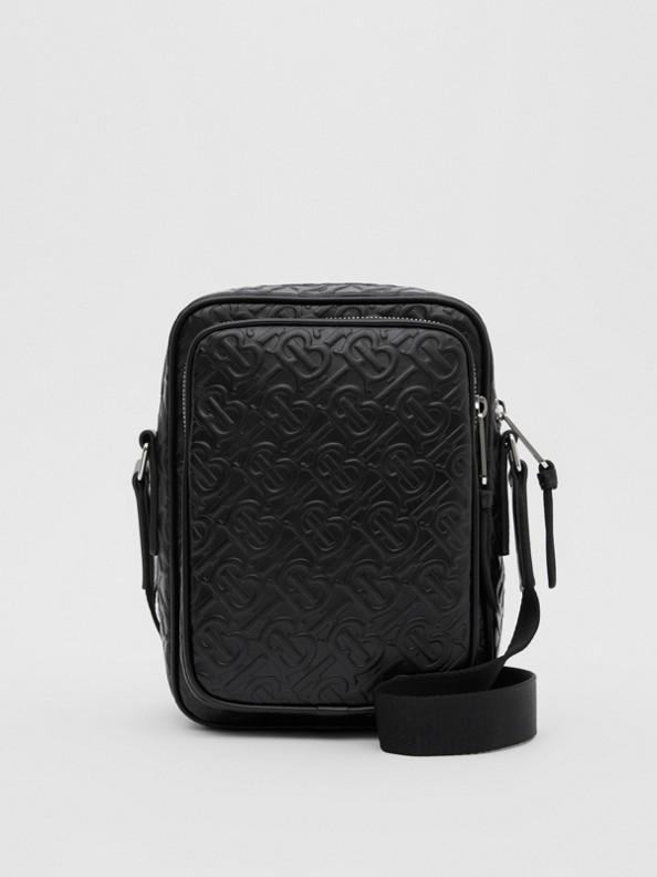 Monogram Leather Crossbody Bag in Black