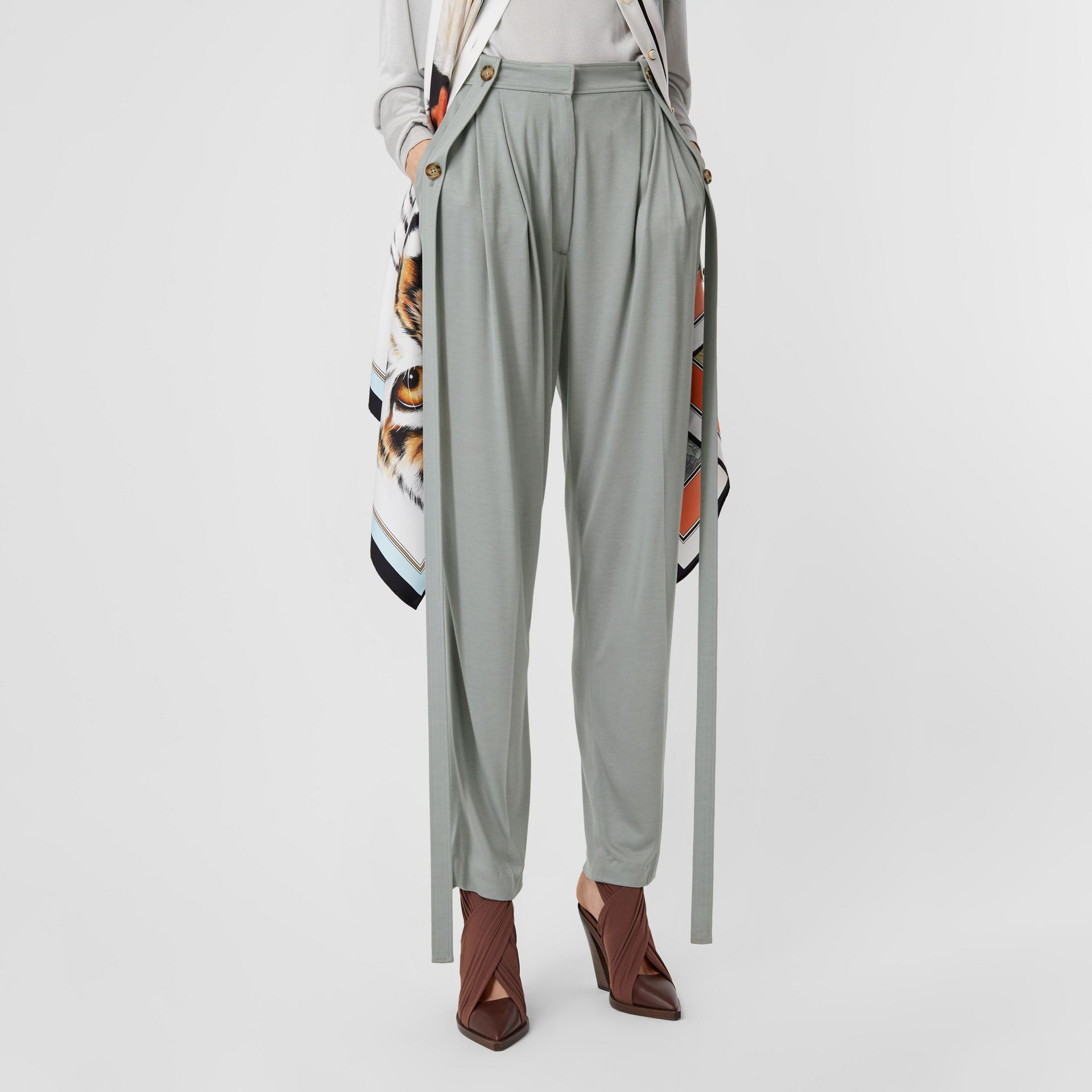 Strap Detail Jersey Tailored Trousers in Heather Melange - Women | Burberry - gallery image 4