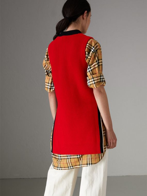 Rib Knit Wool Cashmere Vest in Military Red - Women | Burberry - cell image 2