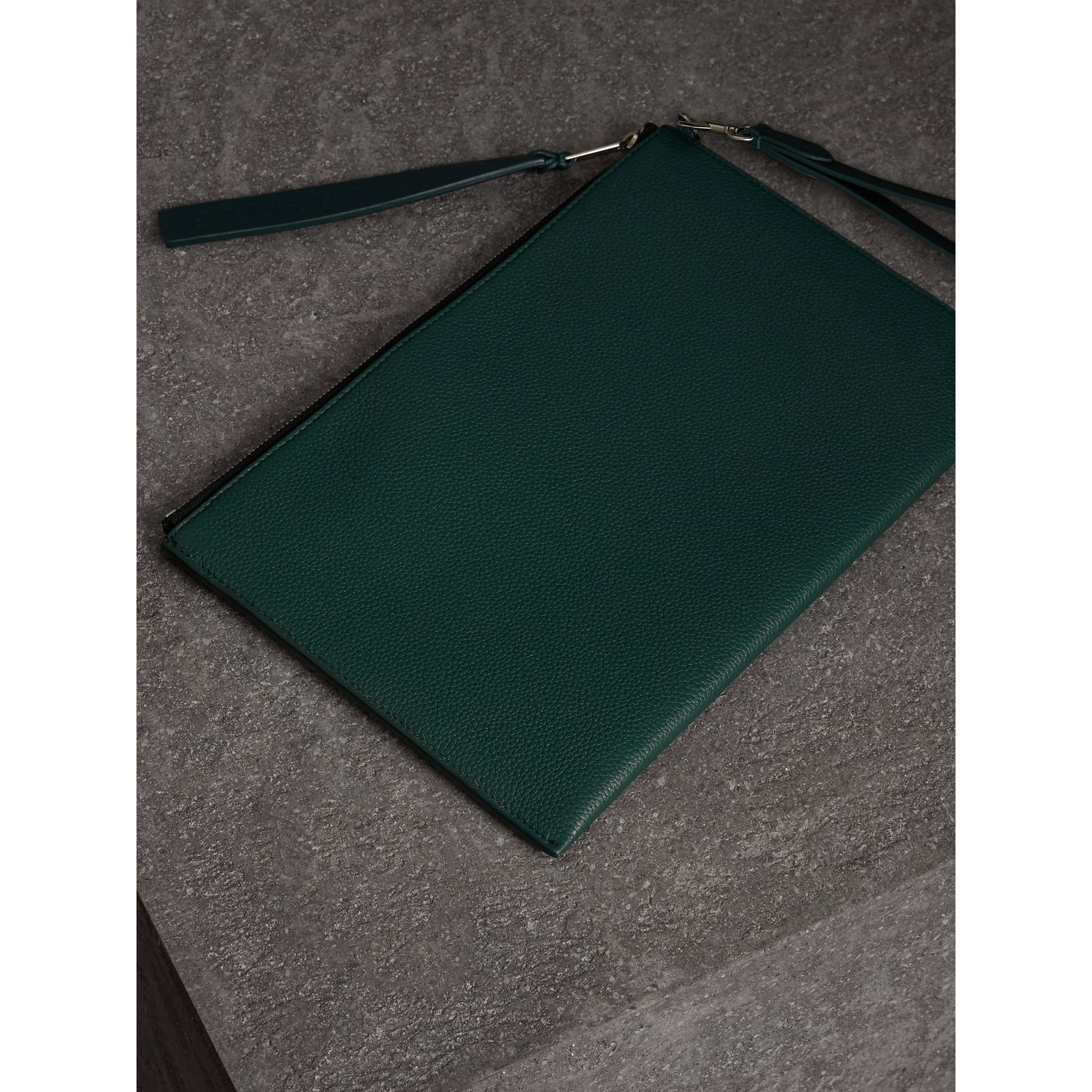 Grainy Leather Zip Pouch in Dark Cyan | Burberry Australia - gallery image 2