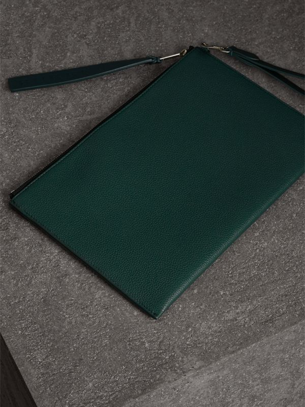 Grainy Leather Zip Pouch in Dark Cyan | Burberry - cell image 2