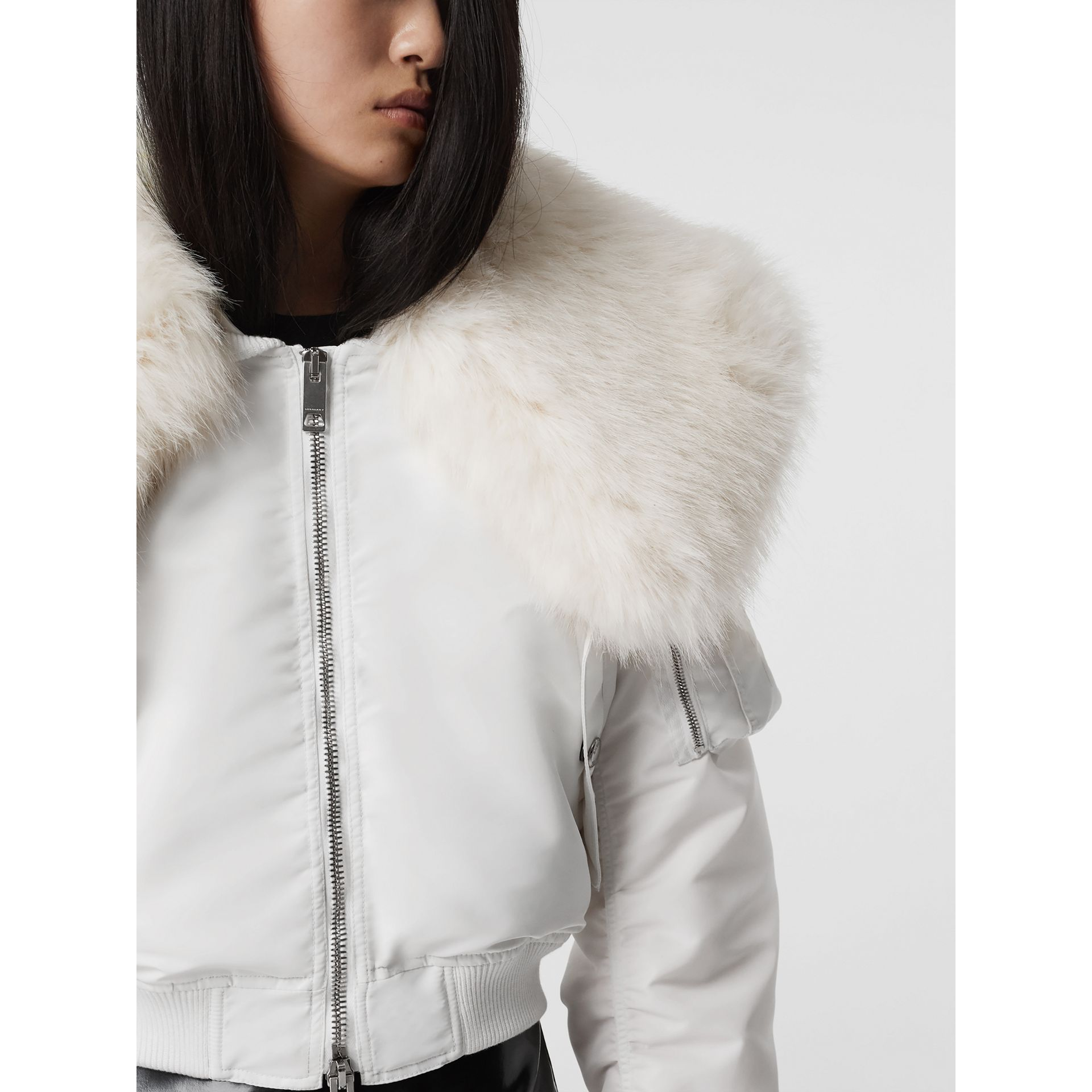 Faux Fur Collar Nylon Bomber Jacket in White - Women | Burberry - gallery image 2