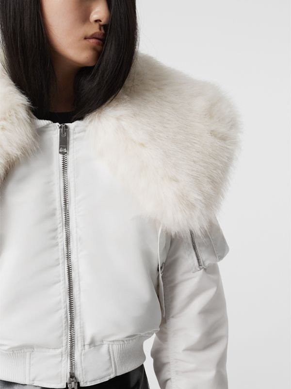 Faux Fur Collar Nylon Bomber Jacket in White - Women | Burberry - cell image 2