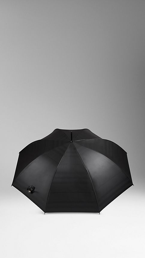 Black camel check Check-Lined Walking Umbrella - Image 2