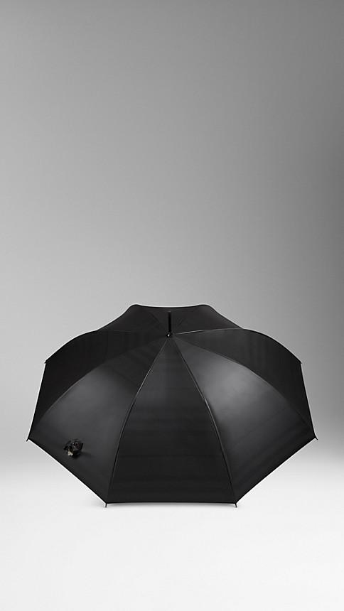 Nero/check cammello Ombrello da passeggio con motivo check all'interno - Immagine 2