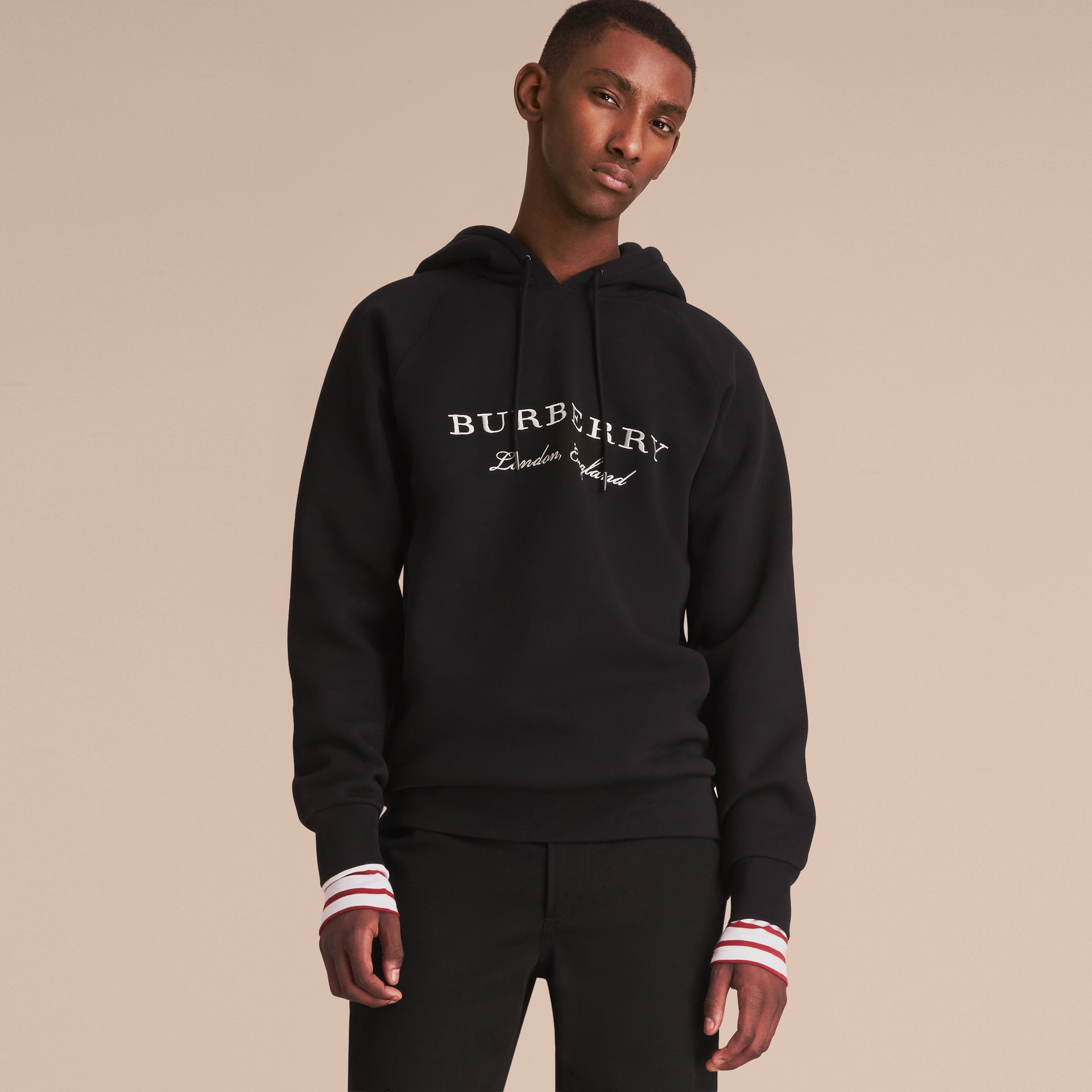 Embroidered Hooded Sweatshirt in Black - Men | Burberry - gallery image 6