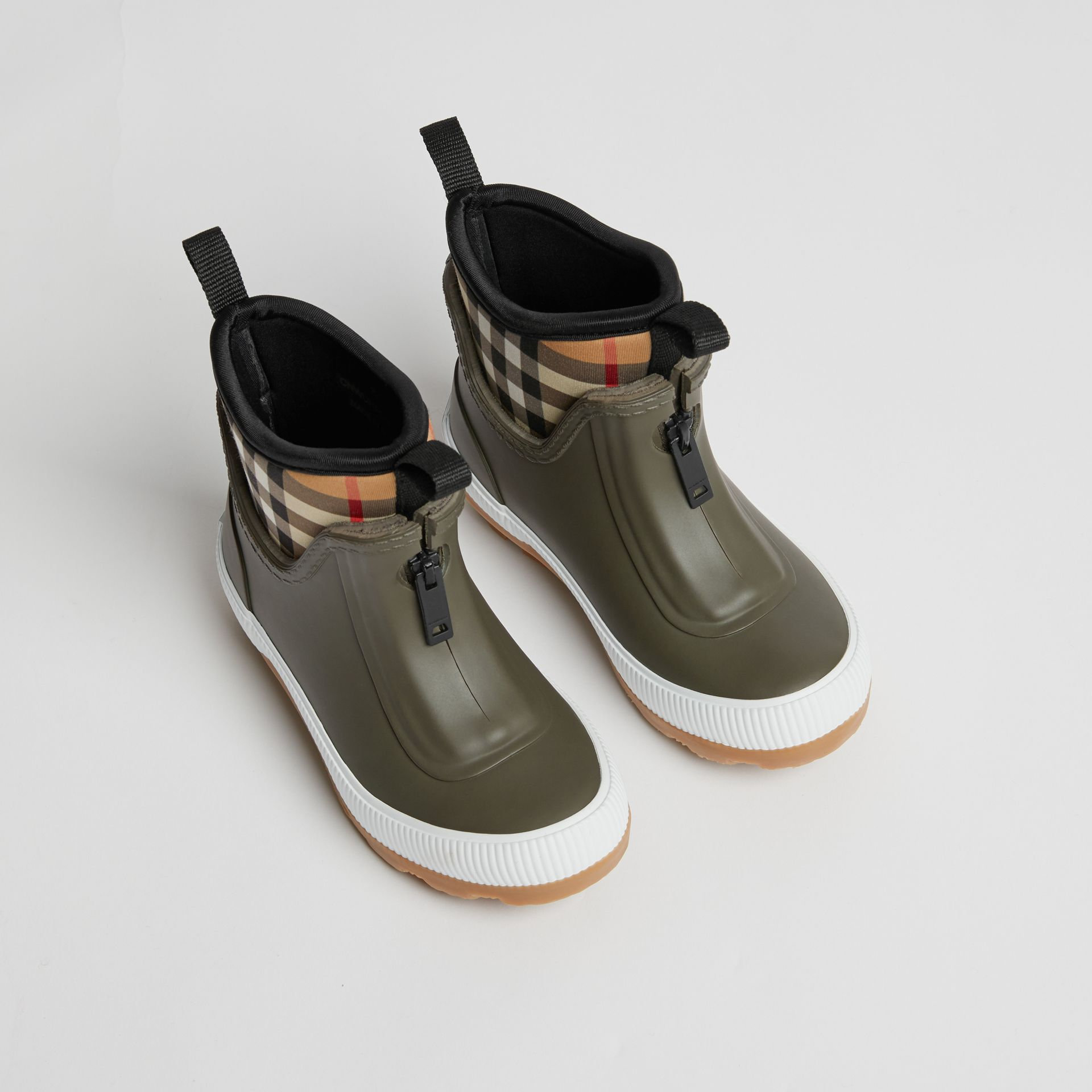 Vintage Check Neoprene and Rubber Rain Boots in Military Green | Burberry - gallery image 0