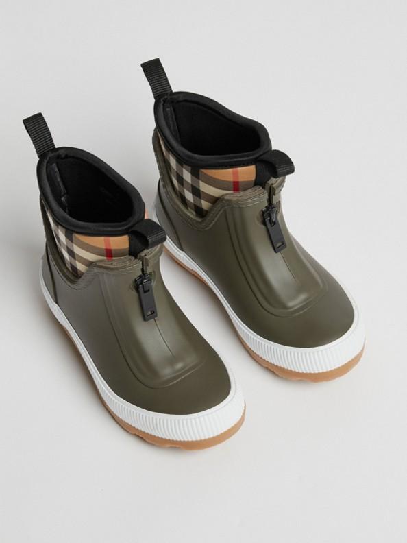 Bottes de pluie en caoutchouc et néoprène à motif Vintage check (Vert Militaire)