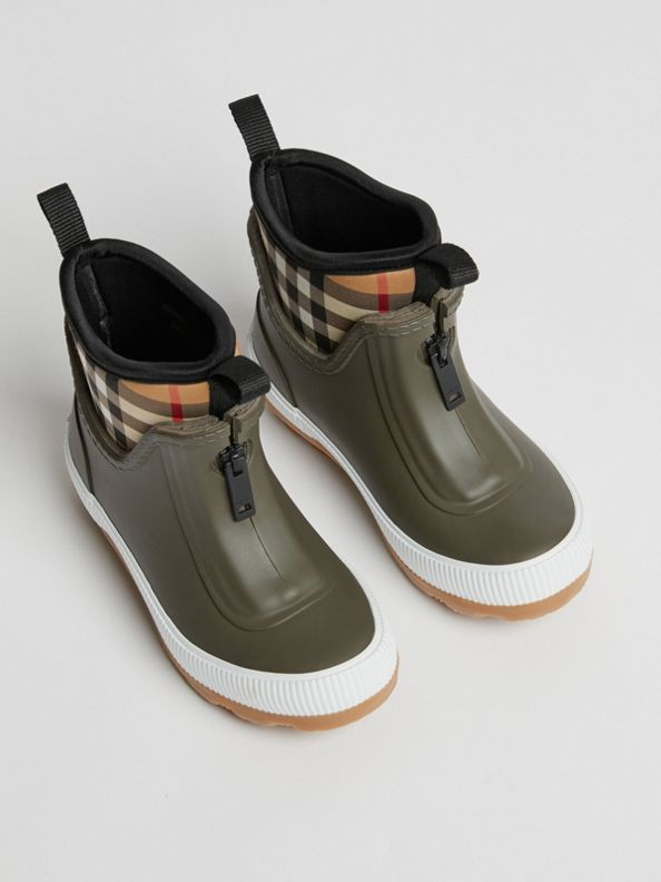 Vintage 格紋氯丁橡膠及橡膠雨靴 (軍綠色)