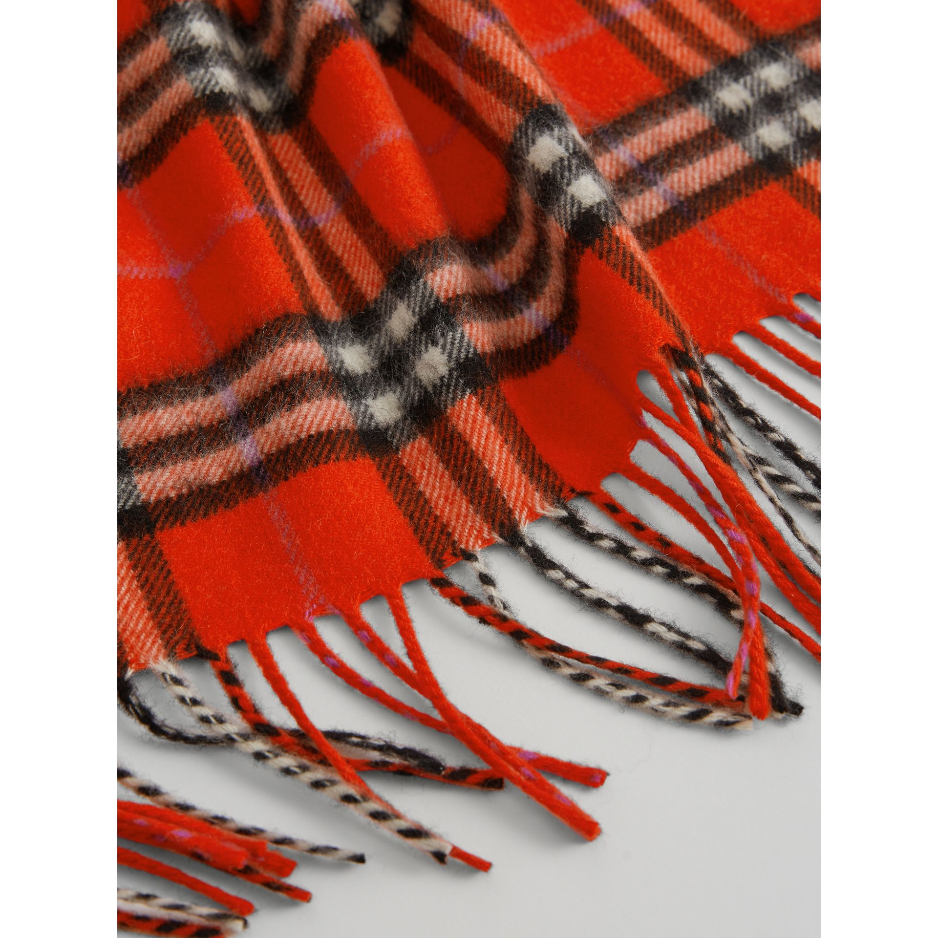 The Mini Burberry Bandana in Check Cashmere in Bright Red | Burberry - gallery image 1