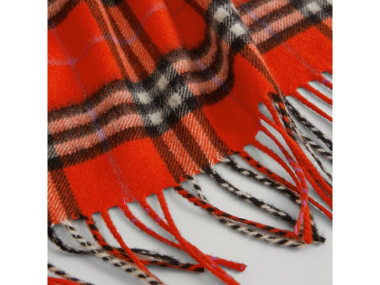 The Mini Burberry Bandana in Check Cashmere in Bright Red | Burberry - cell image 1
