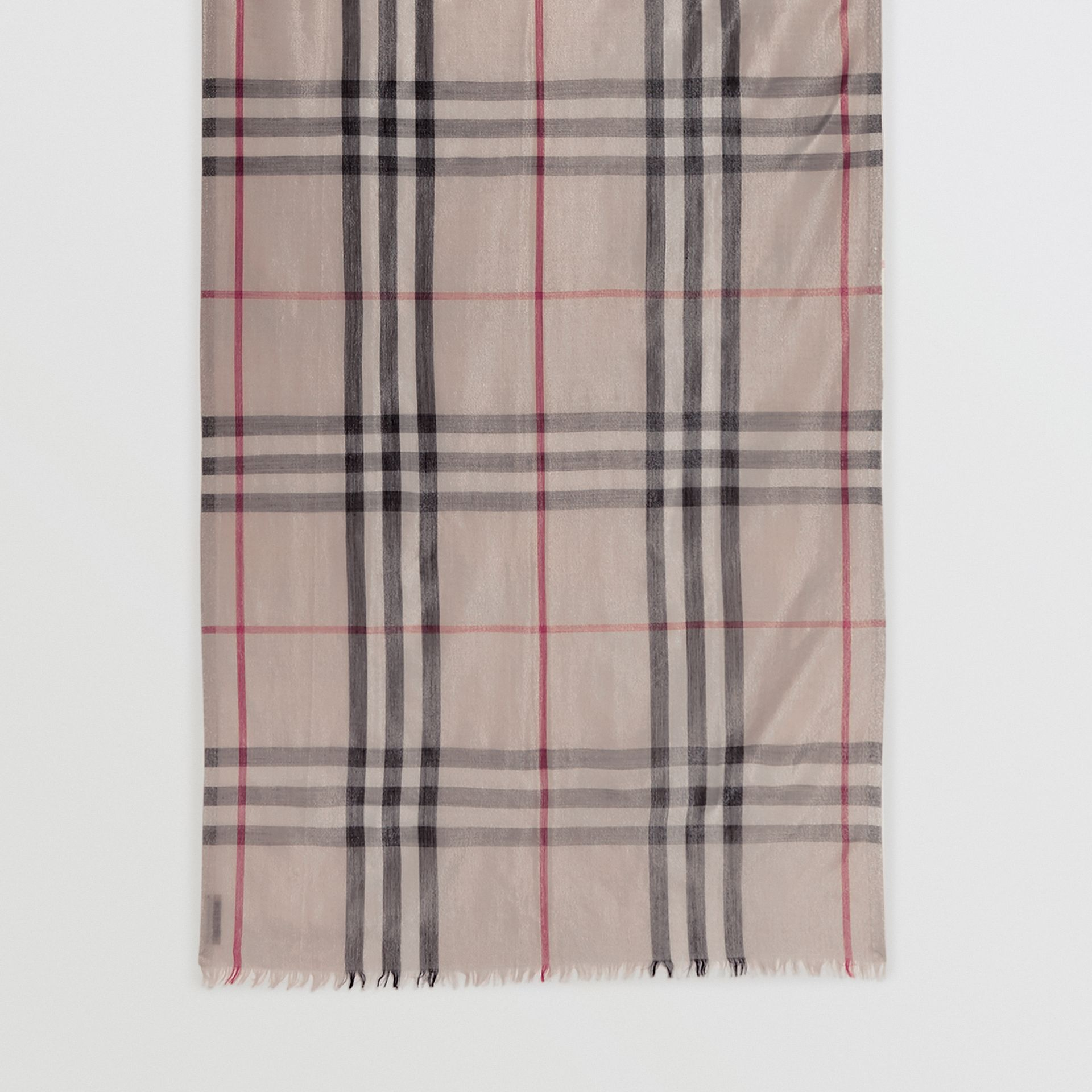 Metallic Check Silk and Wool Scarf in Stone/ Silver | Burberry United Kingdom - gallery image 4