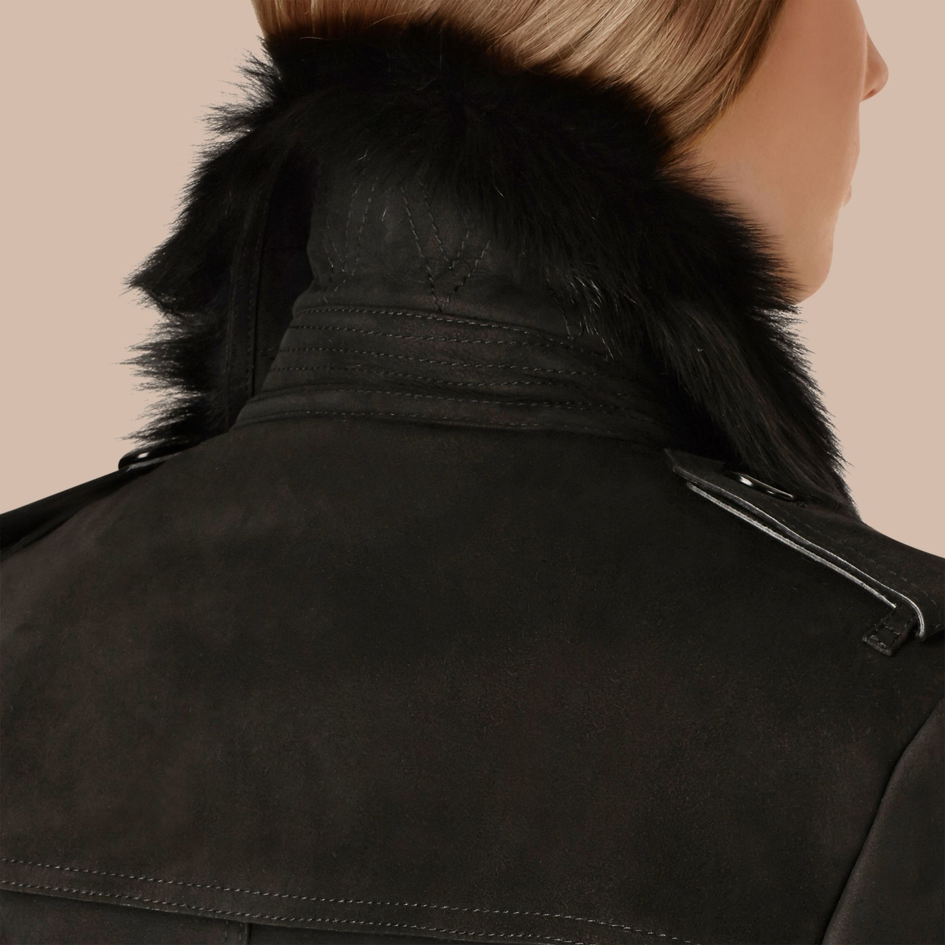 Black Shearling Trench Coat Black - gallery image 5