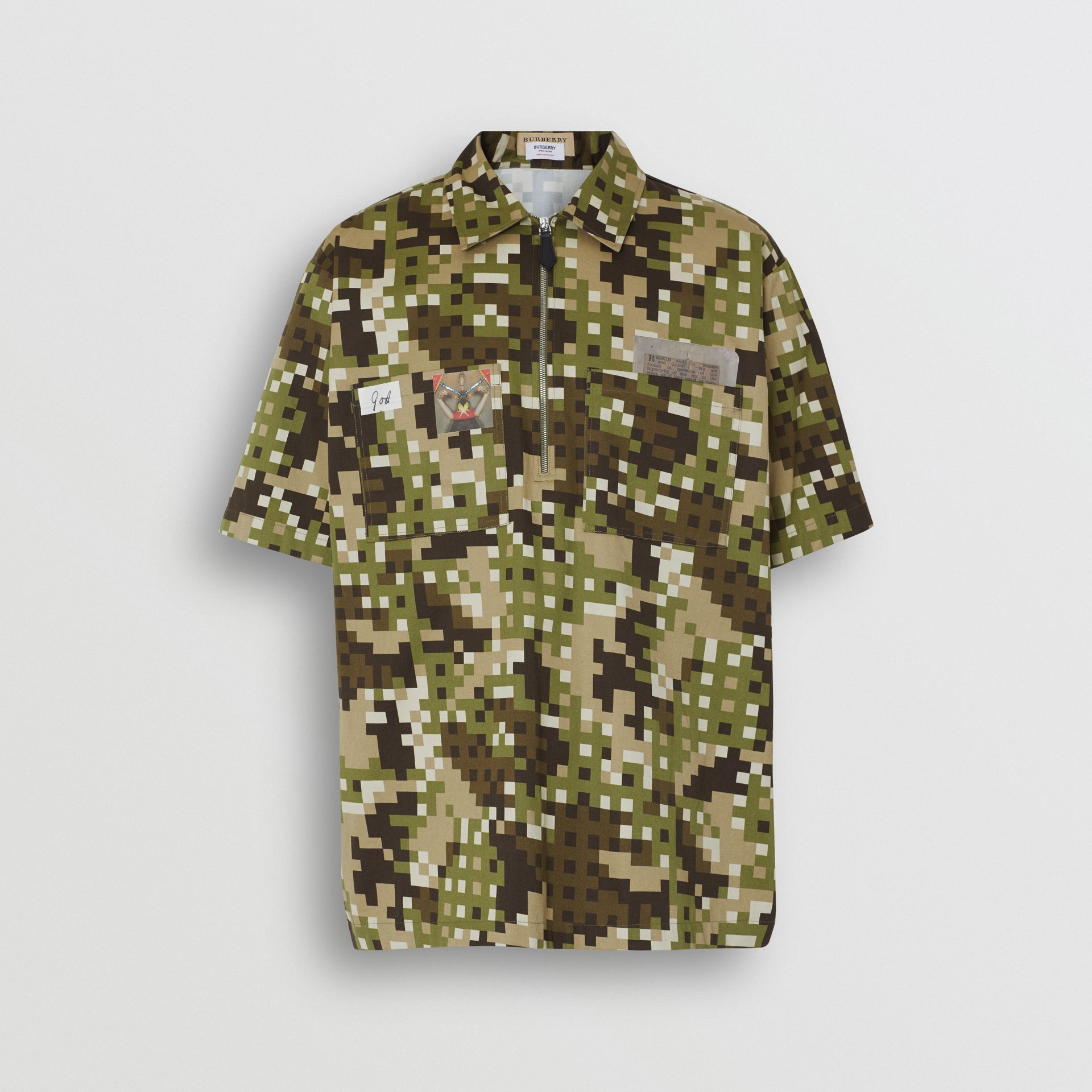 Short-sleeve Montage Print Cotton Shirt in Khaki | Burberry - gallery image 3