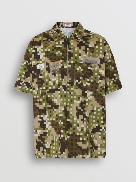 Short-sleeve Montage Print Cotton Shirt in Khaki