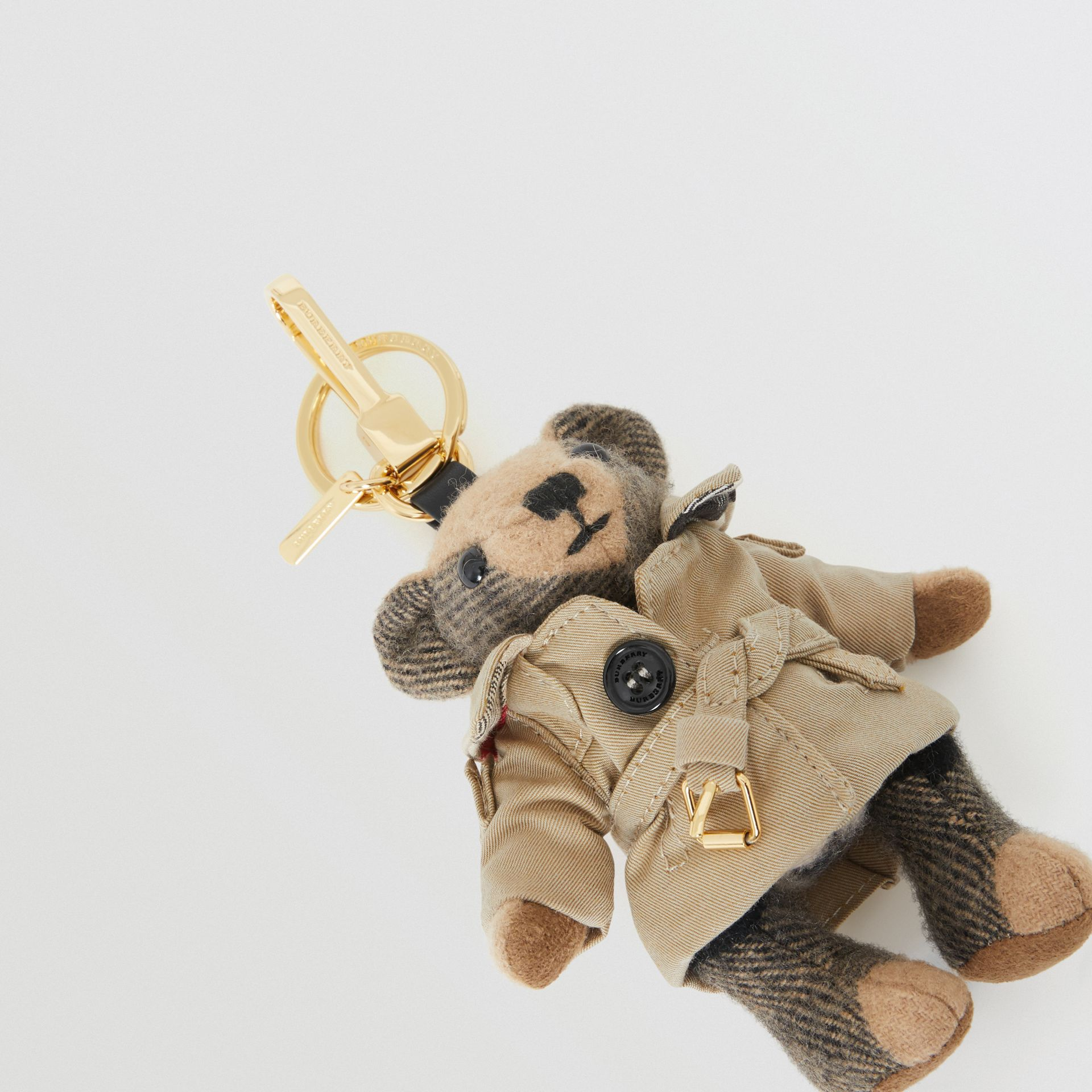 Thomas Bear Charm in Trench Coat in Camel | Burberry Singapore - gallery image 1