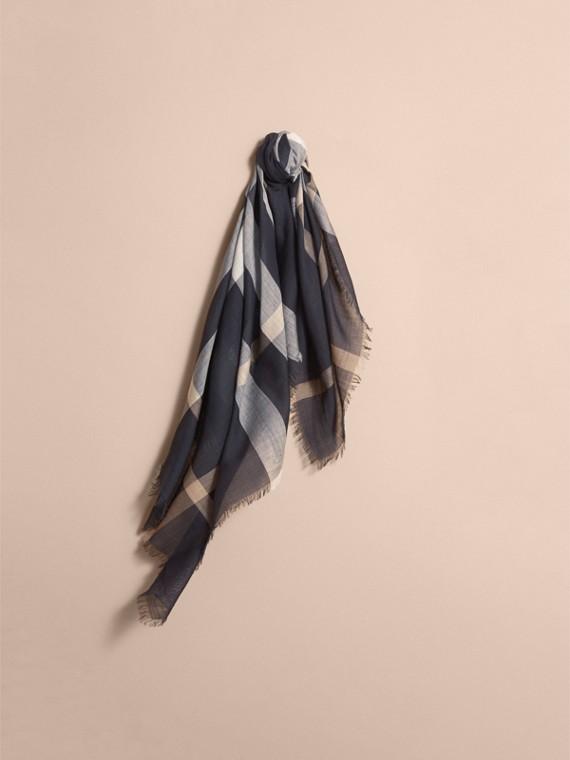 Check Lightweight Wool Silk Square Scarf