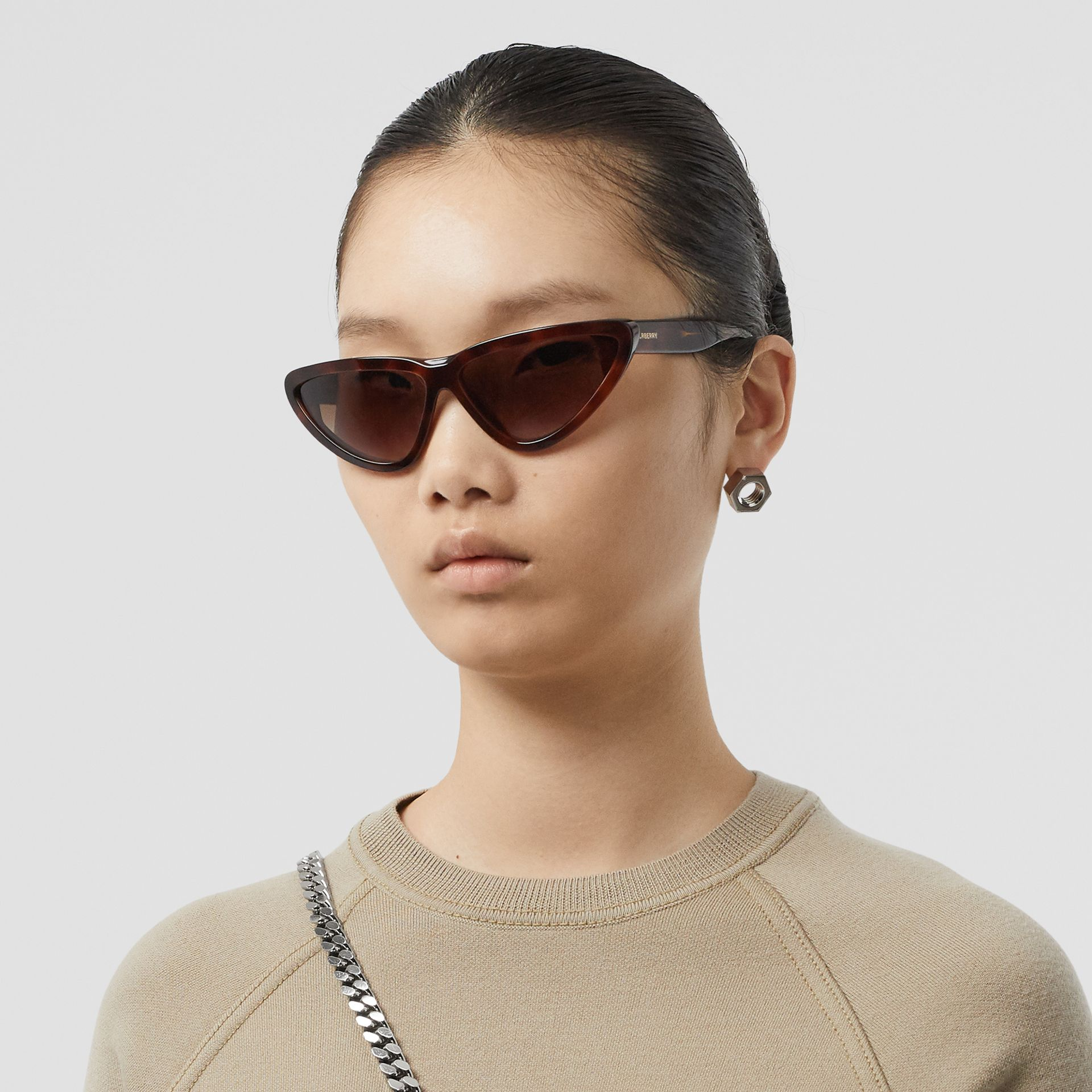 Triangular Frame Sunglasses in Tortoiseshell - Women | Burberry - gallery image 2