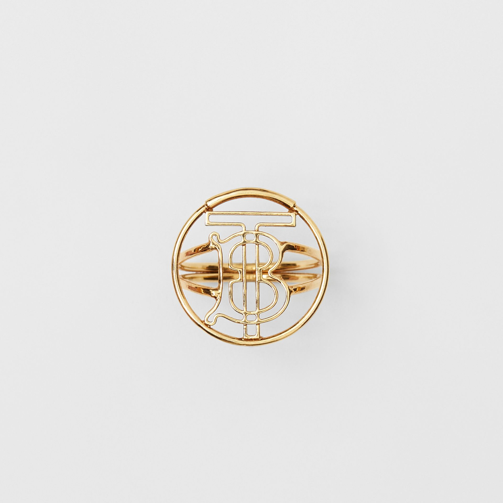 Gold-plated Monogram Motif Ring in Light - Women | Burberry United Kingdom - gallery image 1