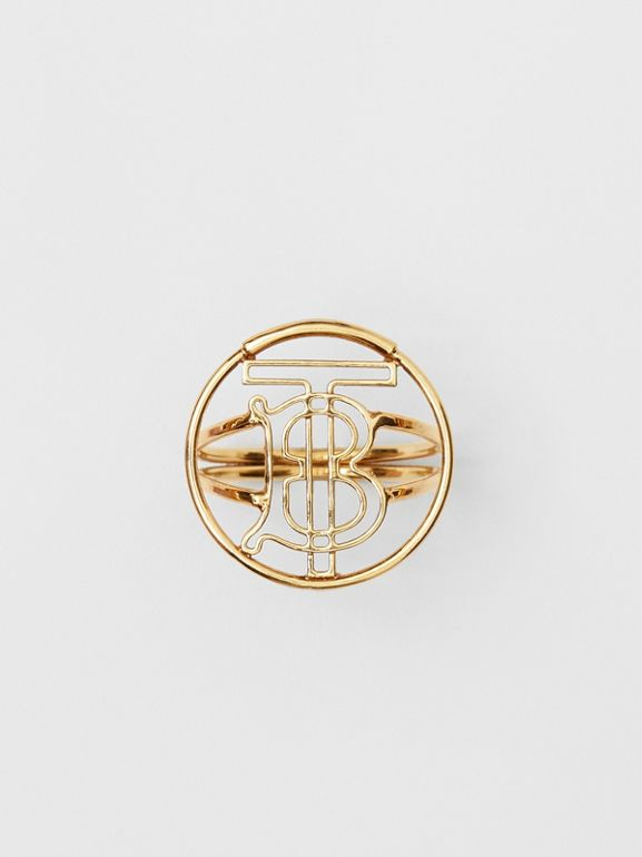 Gold-plated Monogram Motif Ring in Light - Women | Burberry - cell image 1