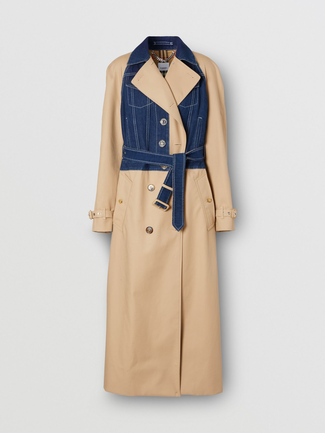Panelled Cotton Gabardine Trench Coat in Soft Fawn