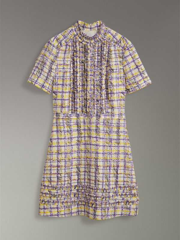 Ruffle Detail Scribble Check Print Silk Dress in Heather - Women | Burberry Canada - cell image 3