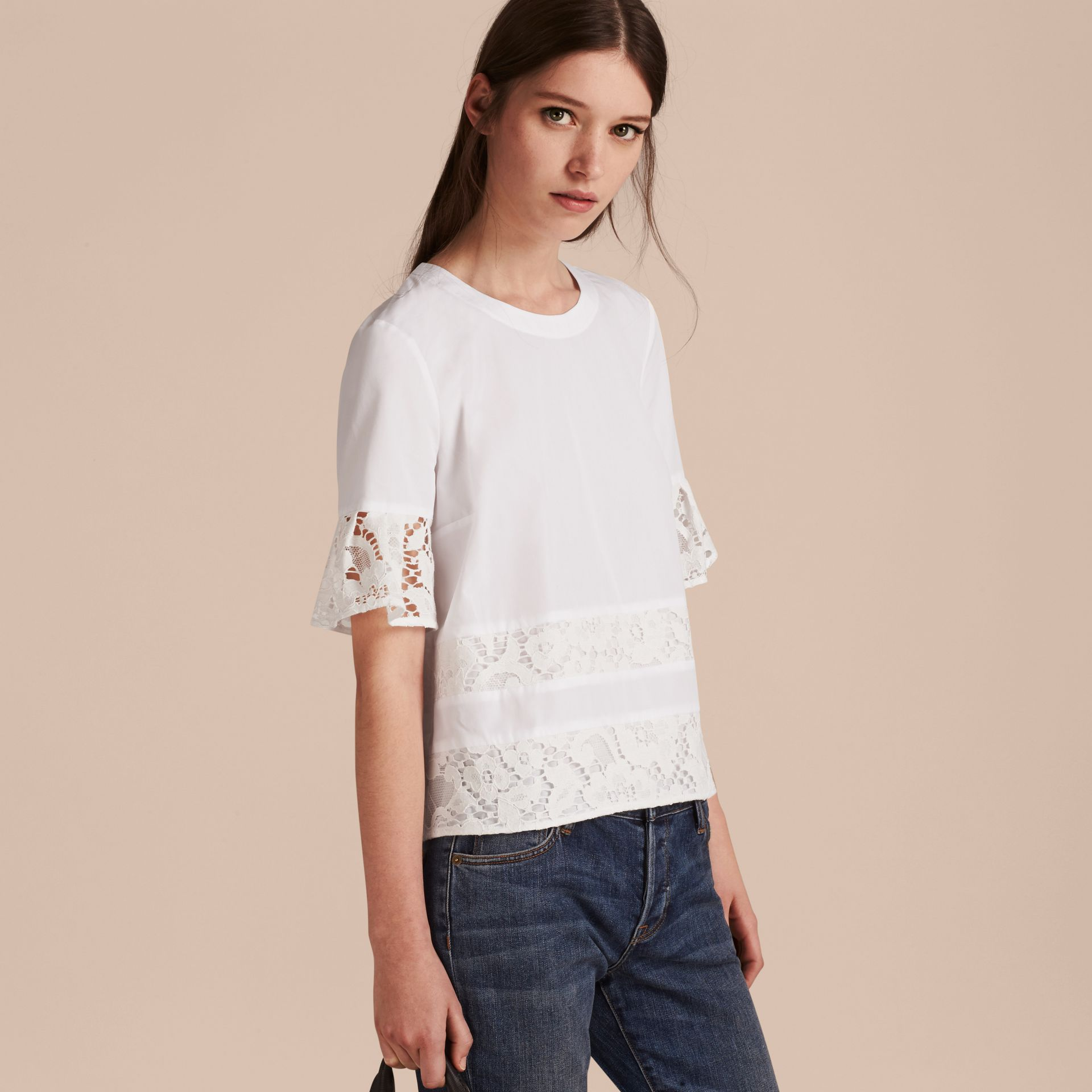White Lace Detail Cotton T-shirt - gallery image 6