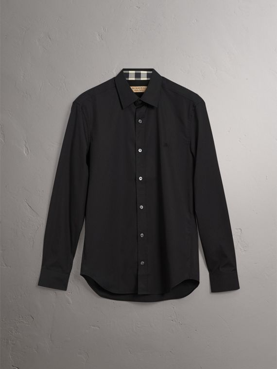 Check Detail Stretch Cotton Poplin Shirt in Black - Men | Burberry United Kingdom - cell image 3