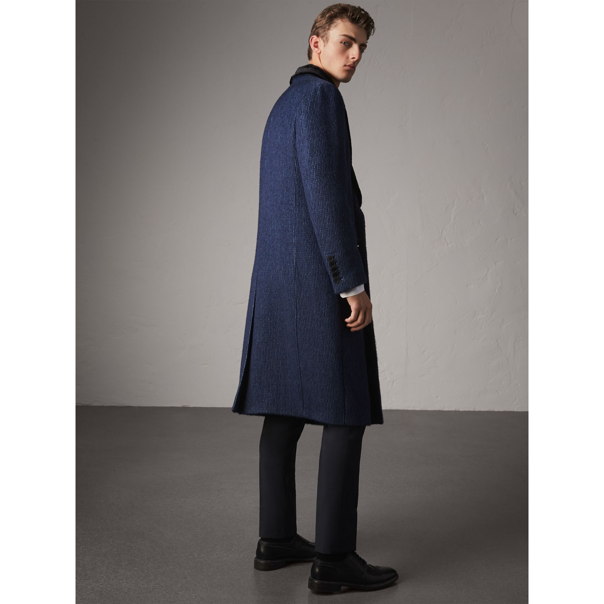 Detachable Fur Collar Alpaca Wool Double-breasted Coat in Pale Sapphire - Men | Burberry United States - gallery image 2