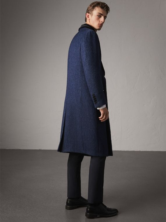 Detachable Fur Collar Alpaca Wool Double-breasted Coat in Pale Sapphire - Men | Burberry United States - cell image 2