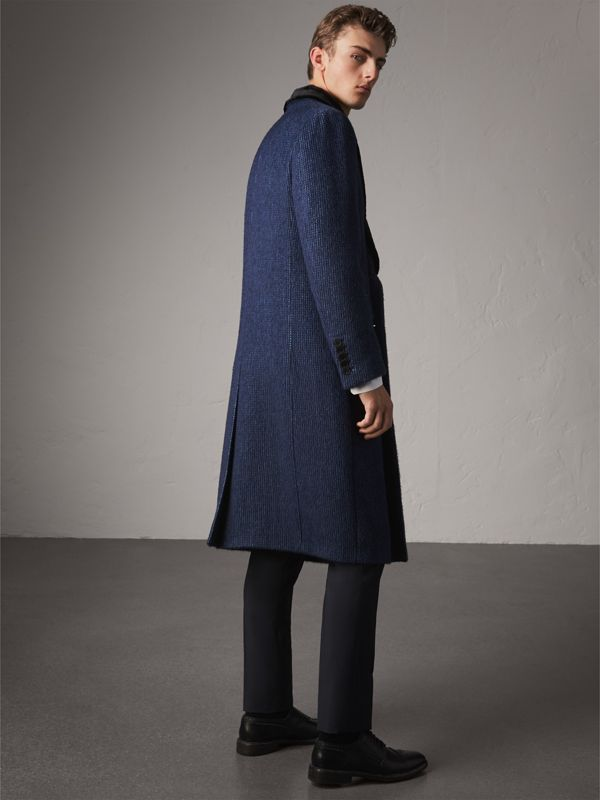 Detachable Fur Collar Alpaca Wool Double-breasted Coat in Pale Sapphire - Men | Burberry - cell image 2