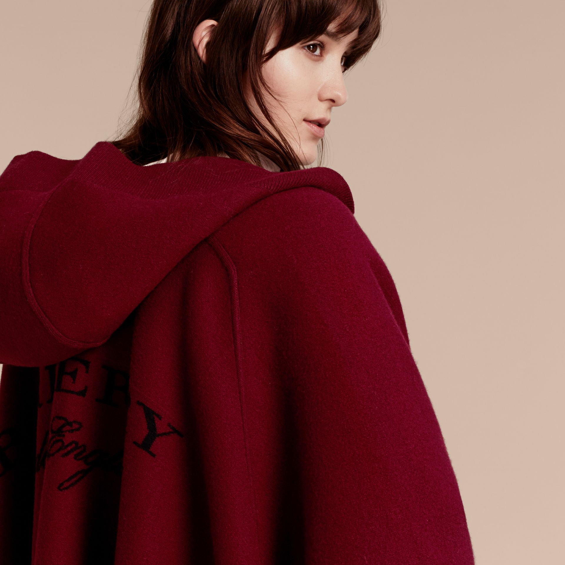 Wool Cashmere Blend Hooded Poncho in Deep Red - Women | Burberry Canada - gallery image 5