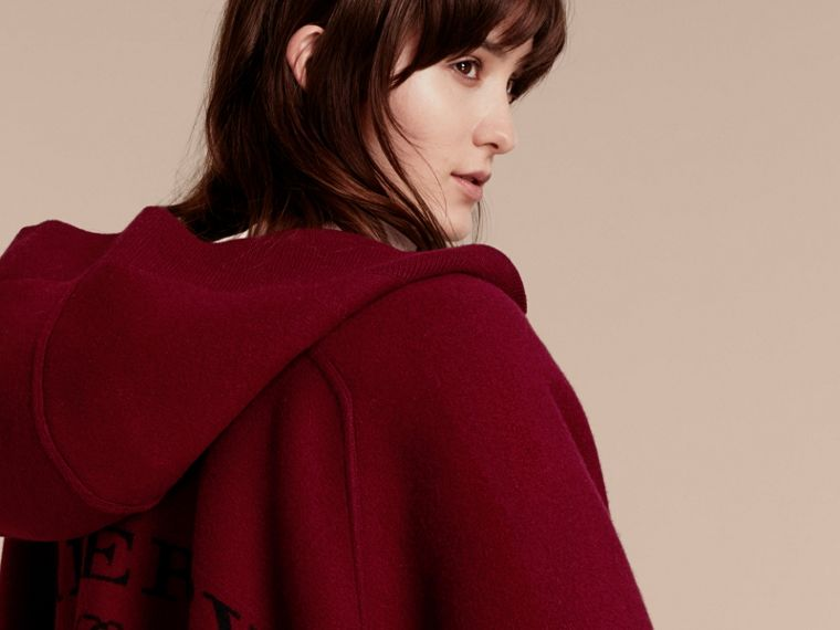 Wool Cashmere Blend Hooded Poncho in Deep Red - Women | Burberry Australia - cell image 4