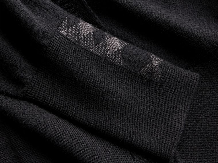 Open-knit Detail Cashmere Cardigan in Black - Women | Burberry Hong Kong - cell image 1