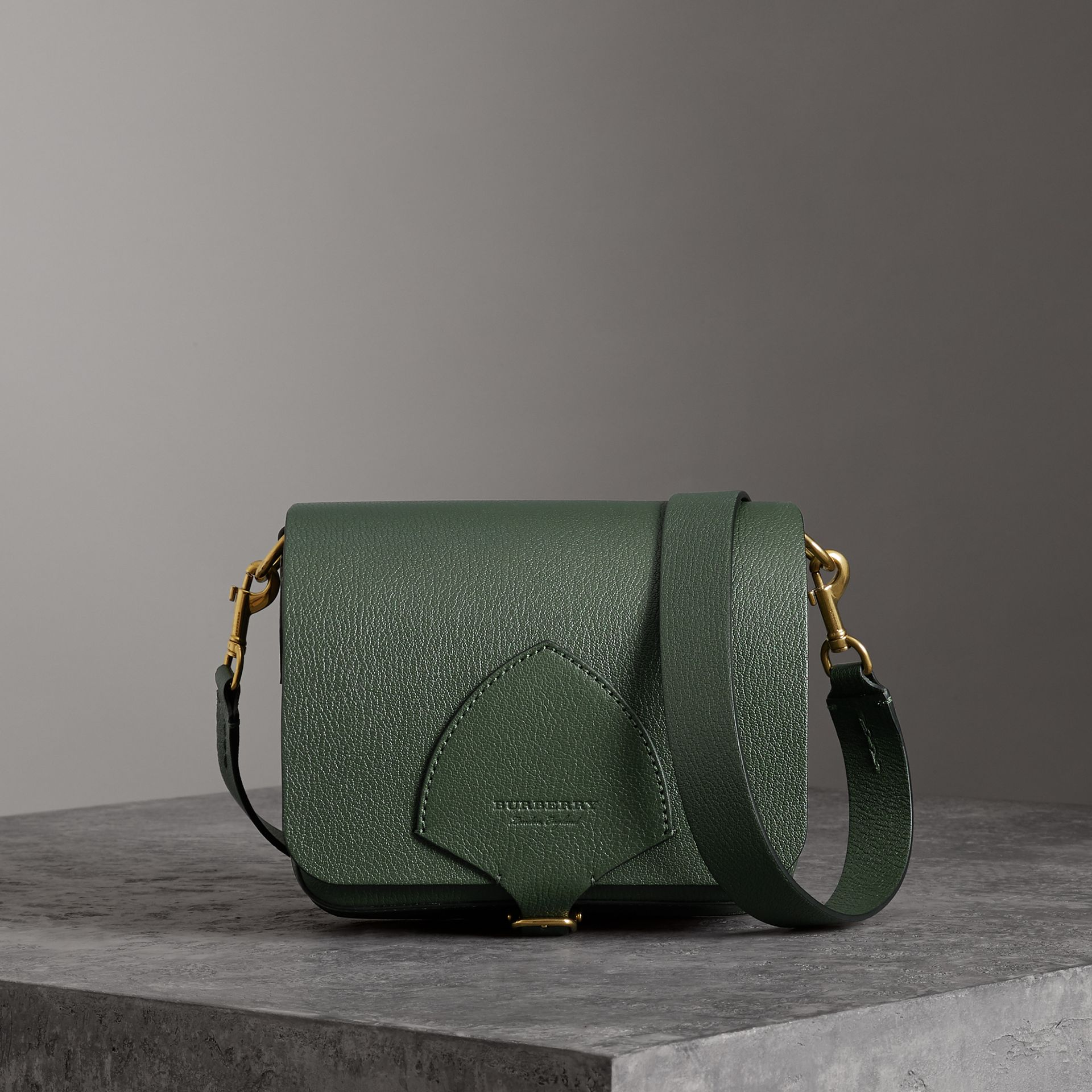 The Square Satchel in Leather in Dark Forest Green - Women | Burberry Australia - gallery image 0