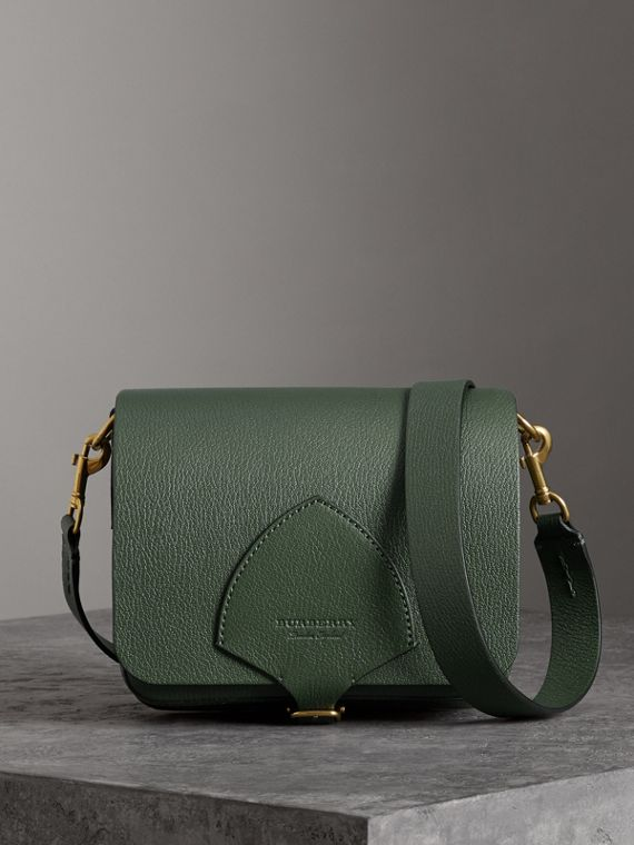 The Square Satchel in Leather in Dark Forest Green