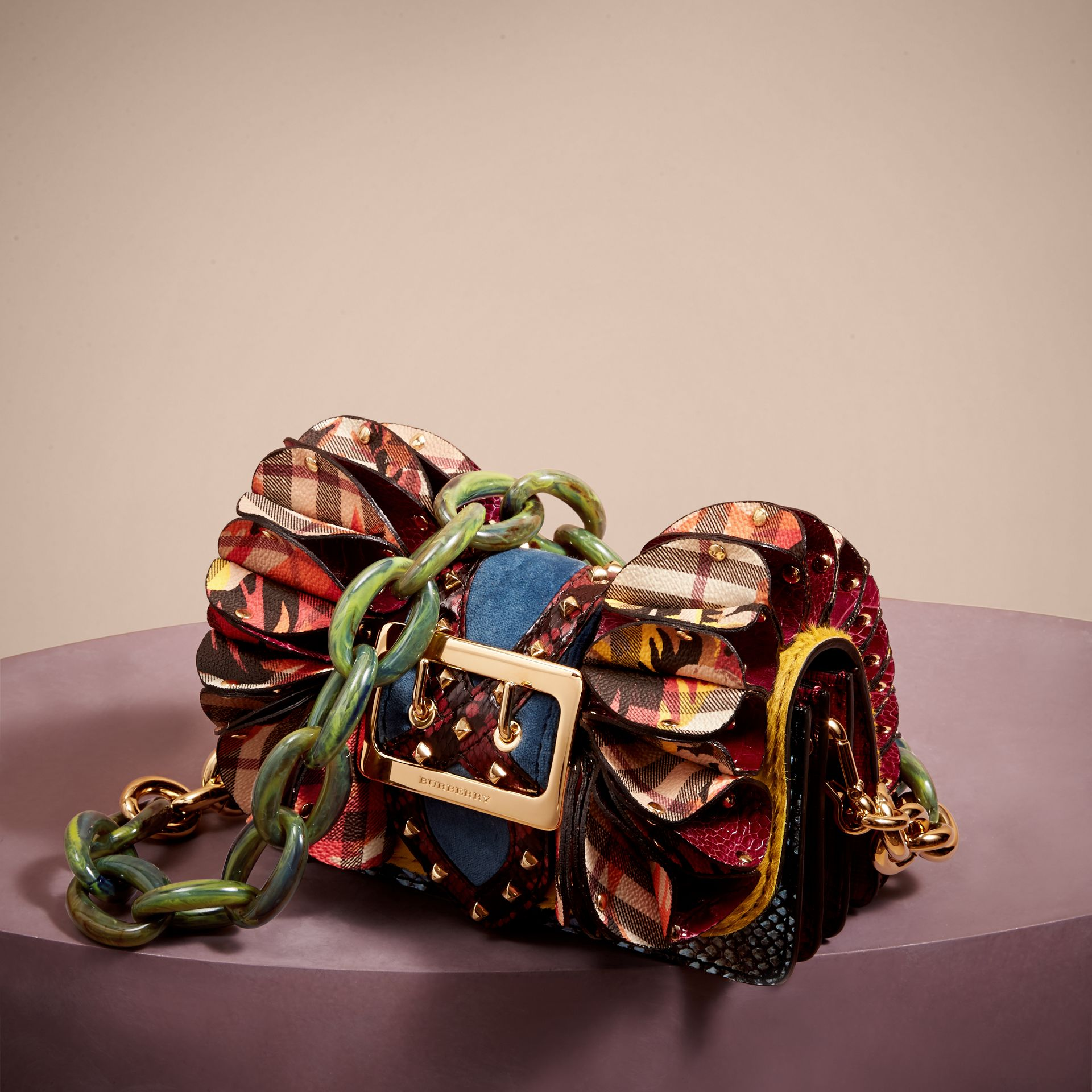 The Ruffle Buckle Bag in Snakeskin, Ostrich and Check in Larch Yellow - gallery image 7