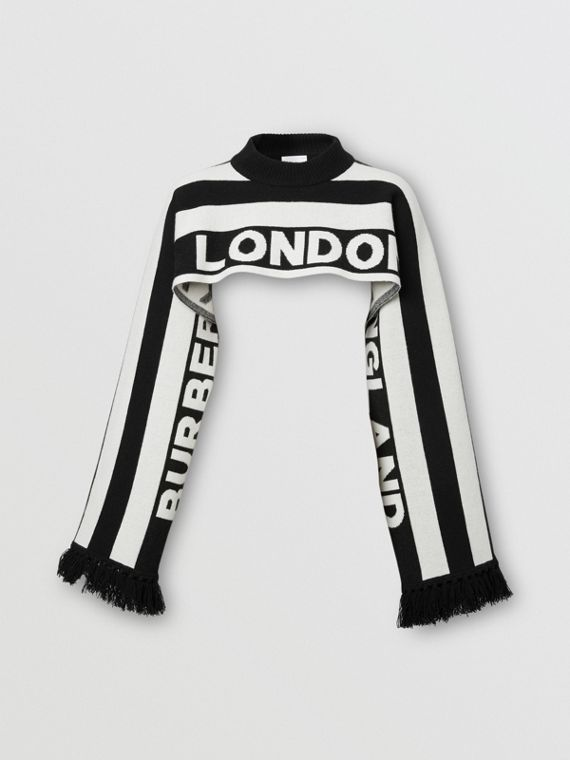 Logo Cashmere Jacquard Capelet with Sleeves in Black