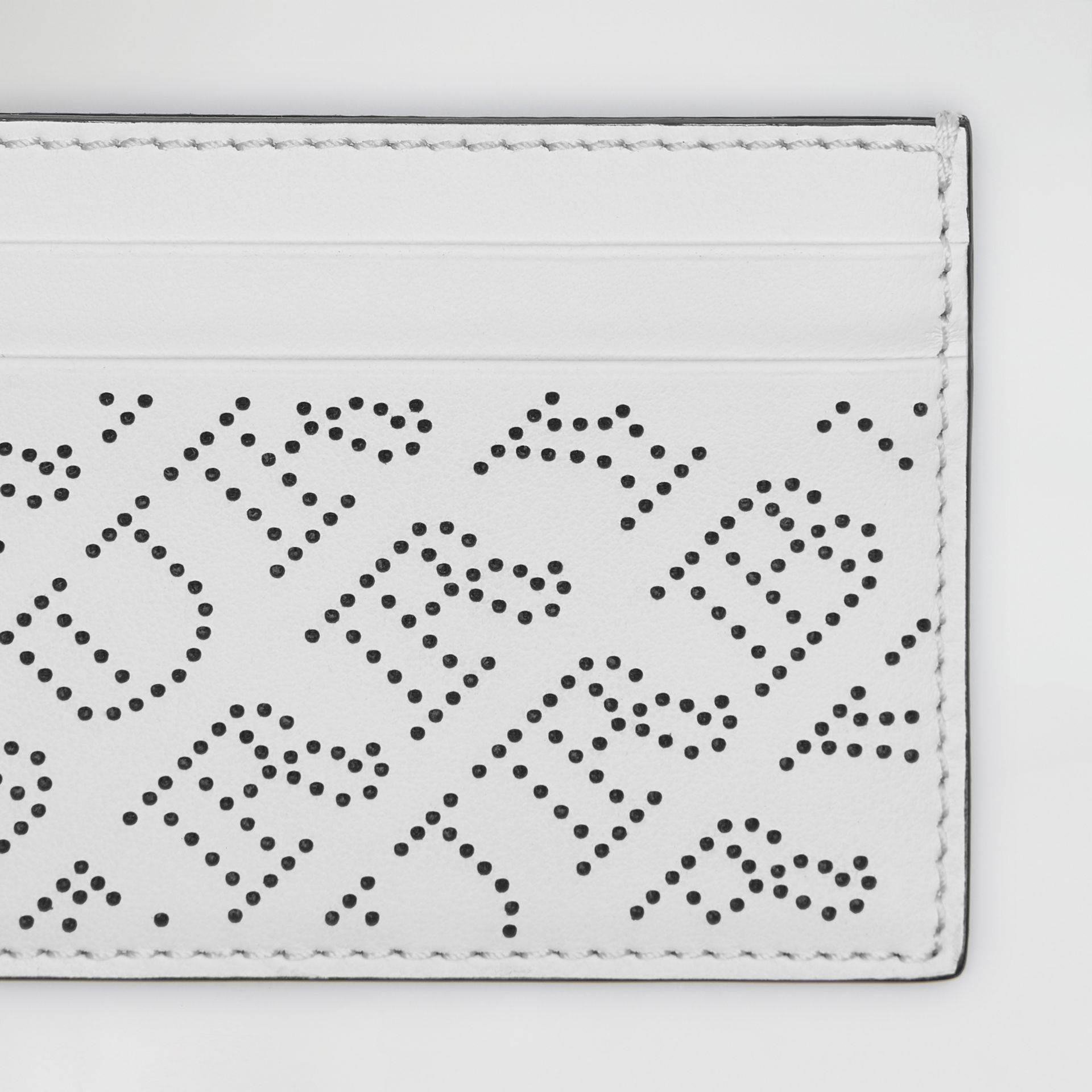 Perforated Logo Leather Card Case in White - Women | Burberry - gallery image 1